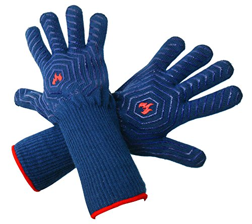 LaTazas Extreme Heat Resistant Grill Oven Mitts, Hot 932°F (EN407) 14 Inches Extra Long and Thick Protection BBQ Gloves for Grilling, Cooking, Fireplace, Barbecue and Pot holders with Blue, Set of 2 (Silicone Oven Gloves Small compare prices)