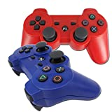 BlueLoong PS3 Controller Wireless Double Shock Red and Blue 2 Pack