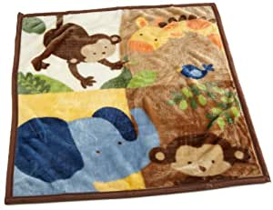 Kids Line Jungle 123 High Pile Blanket, Brown (Discontinued by Manufacturer)