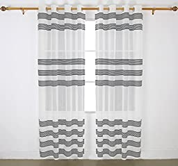 Deconovo Fashion Linen Look Sheer Curtain Panels Window Chenille Design with Horizontal Stripes for Patio Door, 52 x 95 Inch, Black, 1 Pair