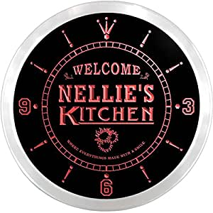 ncps0238-r Nellie's Welcome Kitchen Beer Bar Home Light Neon Sign LED Wall Clock