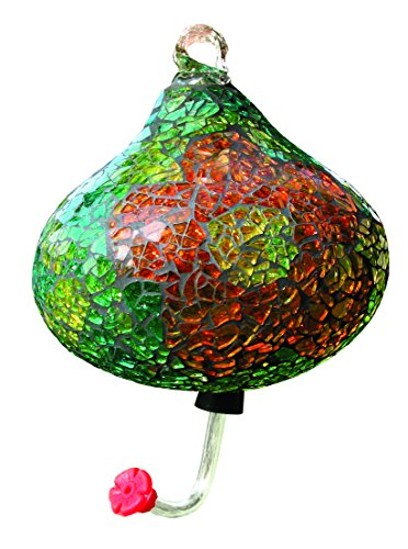 Green Teardrop Mosaic Glass Hummingbird Feeder
