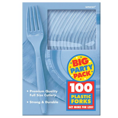 Pastel Blue Big Party Pack - Forks (100)