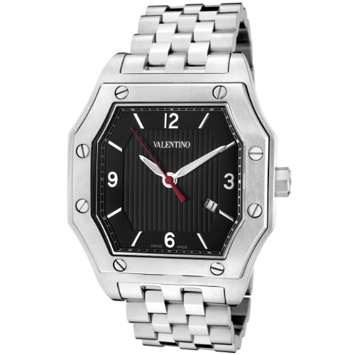 Valentino Prestige Stainless Steel Mens Swiss Dress Watch Black dial Date V39LBQ9909-S099