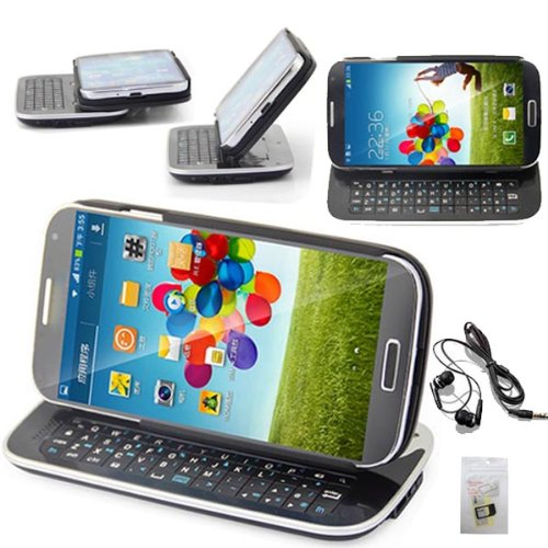 Sqdeal Gift + Earphone + Black Backlight Bluetooth V3.0 Slide Keyboard Stand Case For Samsung Galaxy S4 I9500