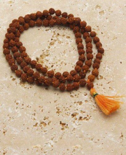 Knotted Rudraksha Seed Meditation Mala, 108 Beads