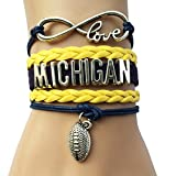 Infinity Love Michigan City Name Football Fans Bracelet Gift University College Shool