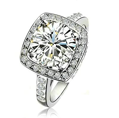 Yoursfs Sparkling Square Center Classic Austrian Zirconia Engagement and Wedding Ring 18K White Gold Plated Band Holiday Gift