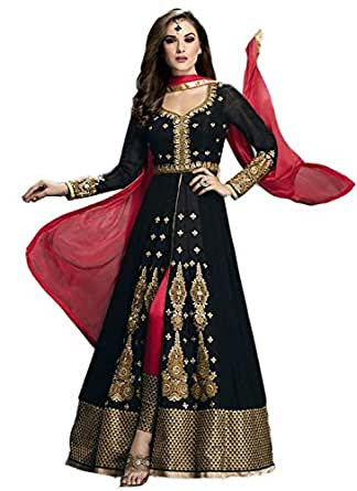 Market Magic World Women's Black Georgette Anarkali Unstitched Free Size XXL Salwar Suits Sets Dress Material (Indain Clothing New Dresses)