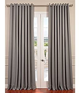 Neutral Grey Grommet Doublewide Blackout Curtain by Exclusive Fabrics & Furnishings