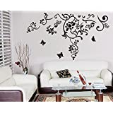 Black Flowers And Butterflies Wall Stickers A_FSUO