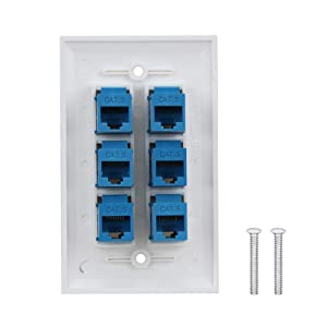 6 Port Ethernet Wall Plate - IQIAN Ethernet Cat6 RJ45 Wall Plate Female to Female . (Color: 6p-cat6-1, Tamaño: 6p-cat6-1)