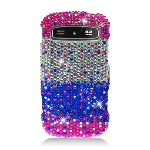 Eagle Cell Pdsamr720S321 Ringbling Brilliant Diamond Case For Samsung Admire/Vitality R720 - Retail Packaging - Waterfall Pink/Silver/Blue