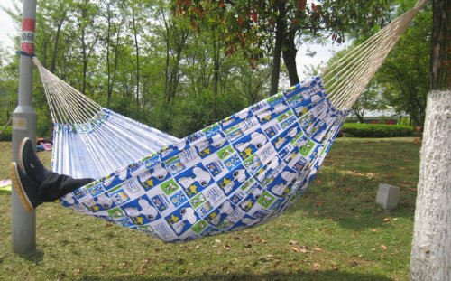 Free Eagle Outdoor Widen Double Canvas Hammock Printing Children'S Cartoon Hammock Chair (Snoopy) front-581862