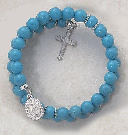 Faux Turquoise Wrap Around Five Decade Catholic 6MM Rosary Bracelet Fine Religious Jewelry