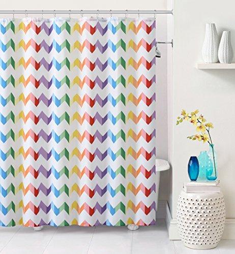 Vivid Purple Blue Green Yellow Pink Chevron Fabric Shower Curtain