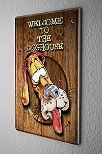 plaque maill e signe d coratif signes dr les bienvenue la maison du chien amusant enseigne en. Black Bedroom Furniture Sets. Home Design Ideas