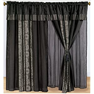 Window Curtains And Drapes Chezmoi Collection Luxury Black Faux Silk Embroidery Swirl Window