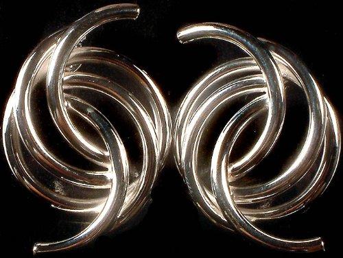 Sterling Designer Hoops - Sterling Silver