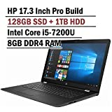 Hp Pavilion 17.3 Inch HD+ Business Laptop (Intel Core i5-7200u, 8GB DDR4 RAM, 128G SSD + 1TB HDD, Bluetooth, HDMI, NO DVD Driver, Windows 10)