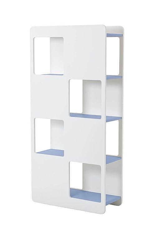 Libreria 8 Fori 78x32x160cm In MDF Sodani Oblò Bianco Opaco e Blu Chiaro