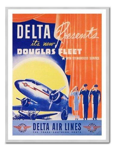 delta-air-lines-douglas-dc2-1940-viaje-impresion-pizarra-magnetica-plata-enmarcado-41-x-31-cms-aprox