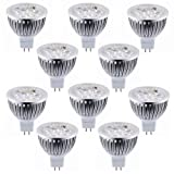 Lot of 10 Dimmable 12V 4W MR16 LED Bulbs - 3200K Warm White LED Spotlights - 50Watt Equivalent - 330 Lumen 60 Degree Beam Angle for Landscape, Recessed, Track lighting
