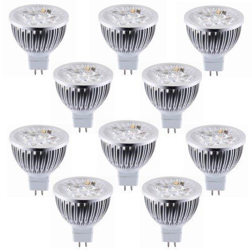 Torchstar Lot Of 10 Dimmable 12V 4W Mr16 Led Bulbs - 6000K Daylight Led Spotlights - 50Watt Equivalent - 330 Lumen 45 Degree Beam Angle