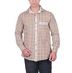 Cotblend Men's Casual Shirt (CB-CTNPRNT-Chocolate-XL, Brown, XL)