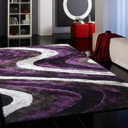 RUGADDICTION Hermosa alfombra Color Gris con Púrpura hecha a mano estilo moderno suave y lujosa , gruesa pila de tamaño 5 \'x 7 \' pies OFERTA TIEMPO LIMITADO