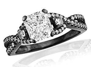 2.47 Carat GIA Certified Black Diamond Twisting Split Shank 3 Stone Diamond Engagement Ring (H Color, VVS2 Clarity)
