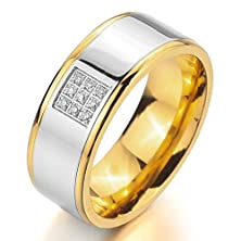buy Men'S Wide 8Mm Stainless Steel Ring Band Cz Silver Gold Love Couples Wedding Engagement Promise Size10