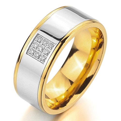 Men'S Wide 8Mm Stainless Steel Ring Band Cz Silver Gold Love Couples Wedding Engagement Promise Size9