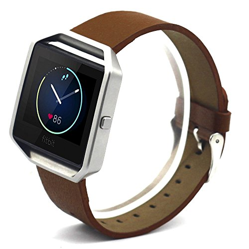 Eagwell Accessory Band for Fitbit Blaze Smart Fitness Watch, Leather, Brown (5.5-7.1in)