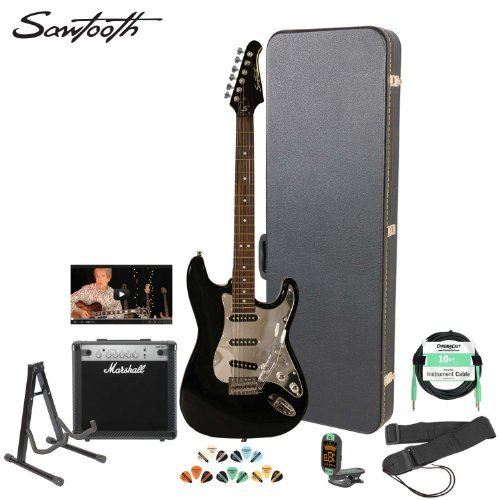 Sawtooth Black Electric Guitar W/ Chrome Pickguard - Includes Accessories, Marshall Amp, Hard Case And Online Lesson