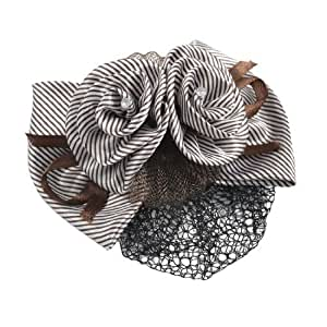 Coffee Color Striped Bow Decor Snood Hair Clip Barrette for Women
