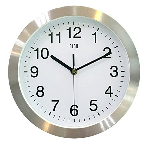 HITO Silent Non-ticking Wall Clock- Metal Frame Glass Cover, 10 inches (Silver) (Office Wall Cover compare prices)