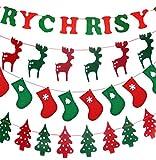 (ケイグラッソ) クリスマス インテリア ( 4種類1セット ) ガーランド 壁掛け 壁飾り バナー パーティー 装飾 小物 演出 イベント (3. クリスマス (4種セット))
