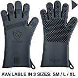 ★ Latest Technology in Men's Barbecue Gloves ★ 3 Sizes ★ Great for Grilling, Frying, Baking & Cooking   High Heat Resistant Silicone for The Best BBQ Oven Mitts & Grill Pot Holders (1 Pair, Size L)