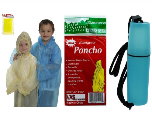 VAS-Childrens-40-X-60-Emergency-Child-Kid-Rain-Poncho-YELLOW-W-BONUS-MINI-TOTE-7-TO-CHOOSE-FROM