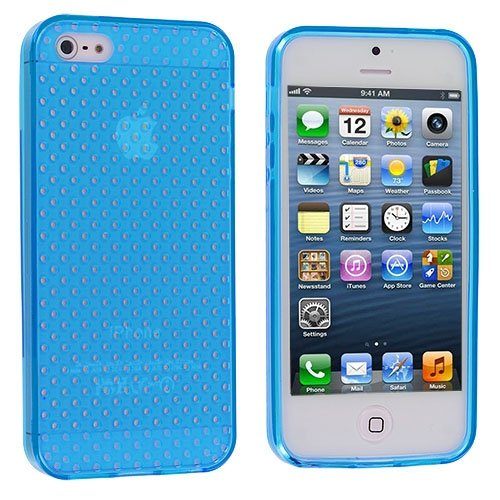 Cell Accessories For Less (Tm) Baby Blue Mesh Tpu Rubber Skin Case Cover For Apple Iphone 5 / 5S + Bundle (Stylus & Micro Cleaning Cloth) - By Thetargetbuys front-678177