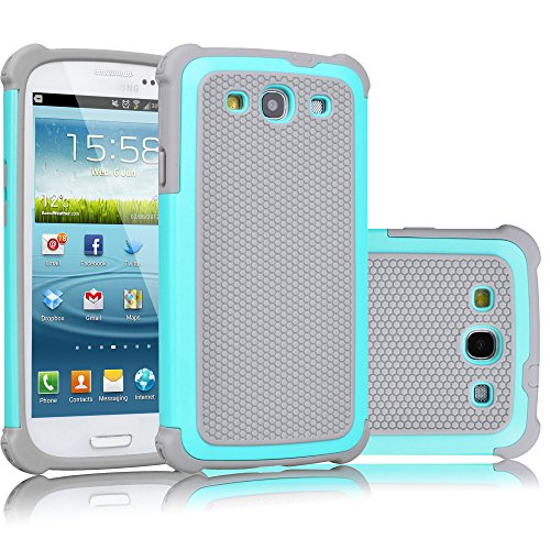 Galaxy S3 Case, Tekcoo(TM) [Tmajor Series] [Turquoise/Grey] Shock Absorbing Hybrid Rubber Plastic Impact Defender Rugged Slim Hard Case Cover Shell For Samsung Galaxy S3 S III I9300 GS3 All Carriers (Galaxy S Iii Cover compare prices)