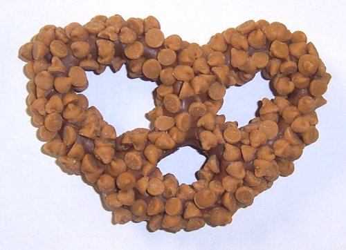 Scott's Cakes 1 lb. Milk Chocolate Covered Pretzels with Peanut Butter Chips in a Small Fruit Tin