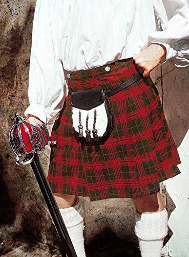 Früher Kilt, mit rot-grünemTartan - Schottenrock - schottischer Kilt Größe L