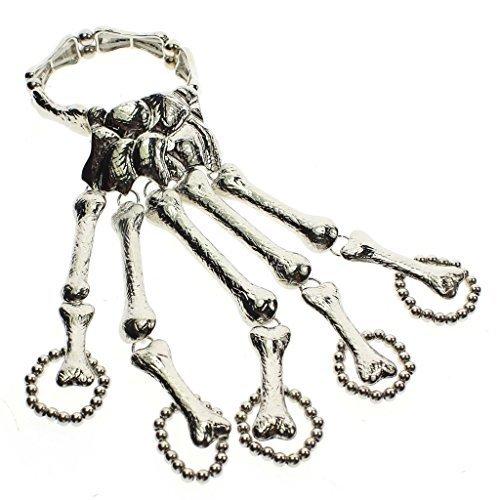 VK Skull Hand Fingers Chain Skeleton Unibody Bracelet Ring Slave Cuff Halloween Costume - Silver