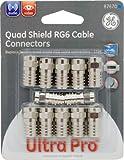GE 87670 RG6 Crimp-On Quad Connector, 12-Pack