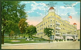 Majestic Hotel Bath House Hot Springs AR postcard 1920