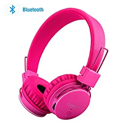 Bluetooth Volume Limiting Kids Headphones,Sodee Wireless/Wired Stereo Over-ear HD Headset with Shareport SD Card FM Radio In-line Volume Control Microphone for Children Adults (Pink)