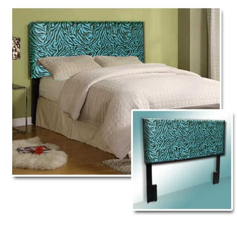New Queen Size Headboard With Blue & Black Zebra Animal Faux Fur Print front-1014242