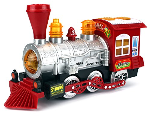 Steam Train Locomotive Engine Car Bubble Blowing Bump & Go Battery Operated Toy Train w/ Lights & Sounds (Steam Toy Train compare prices)